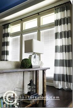 Gray + Blue color scheme AND DIY curtains from showe curtain