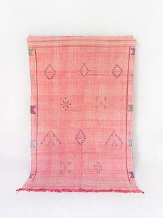 Vintage Moroccan Kilim Rug Pastel Rug Pink Rug Berber Rug