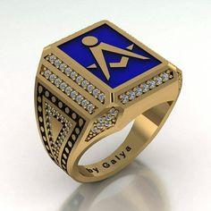 Gold masonic ring - By Galya - 7 Masonic Jewelry, Jewelry Rings, Jewelery, Eastern Star, Mens Silver Rings, Freemasonry, Signet Ring, Bracelets For Men, Rings For Men