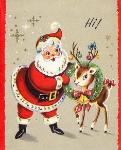 Vimtage santa and reindeer card #christmas