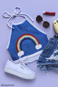 Rainbow Sweater Knit Halter Top