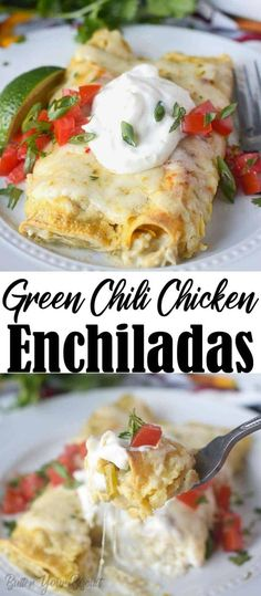 These Green Chile Chicken Enchiladas are creamy loaded with chicken, chiles and cheese. Perfect make ahead freezer meal, your family will love! # Green Chile Chicken Enchiladas Recipe-Butter Your Biscuit Enchiladas Guatemaltecas, Green Chicken Enchiladas, Green Chili Chicken, Chicken Chile, Recipe For Chicken Enchiladas, Enchiladas Healthy, White Chicken, Mexican Food Recipes, Gourmet