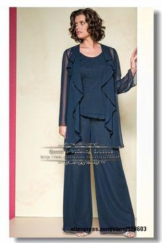 Dark Navy Chiffon Ruffles mother of the bride pants suit $143.00
