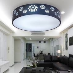 Awesome Round And Large Flourescent Light For Gorgeous Living Room Idea