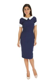 Bella Navy Luxe Crepe Pencil Dress | The Pretty Dress Company 99UKPOUNDS. size 8 or 10 which is us 4 or 6