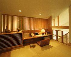 勾配天井。平屋のような和の雰囲気漂う畳の書斎。