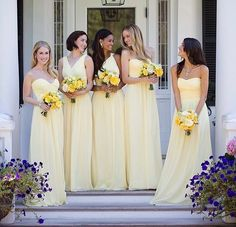 Win 3 Donna Morgan Bridesmaid Dresses For Your Girls! Lemon Bridesmaid Dresses, Yellow Bridesmaids, Bridesmade Dresses, Designer Bridesmaid Dresses, Mismatched Bridesmaid Dresses, Wedding Bridesmaids, Wedding Gowns, Wedding Blog, Prom Dress
