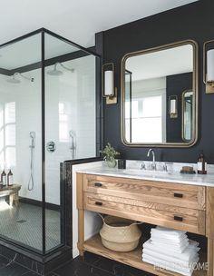 Modern bathroom with dark walls - natural wooden vanity - modern . - Modern bathroom with dark walls – natural wooden vanity – modern farmhouse – - Bad Inspiration, Bathroom Inspiration, Bathroom Ideas, Bathroom Designs, Bathroom Vanities, Bathroom Remodeling, Bathroom Stuff, Bathroom Inspo, Remodeling Ideas