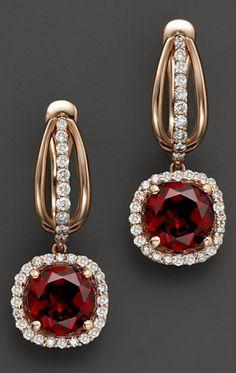 14K Rose Gold Diamond & Garnet Cushion Earrings