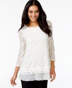 Alfani Petite Split-Back Lace Top, Only at Macy's | macys.com