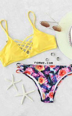 Yellow Floral Print Criss Cross Mix & Match Bikini Set