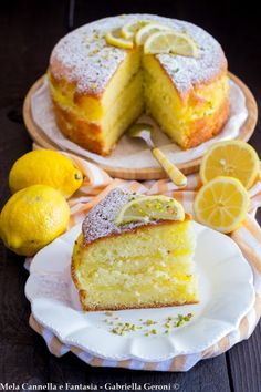 Cake al limone farcita con crema di limone senza lattosio ✫♦๏💟☘‿MO Aug ‿❀🎄✫🍃🌹🍃❁`✿~⊱✿ღ~❥༺✿༻♛༺♡⊰~♥⛩ ⚘☮️❋ Best Italian Recipes, Favorite Recipes, Lime Cake, Sem Lactose, Lactose Free, Italian Cake, Torte Cake, Yummy Treats, Yummy Food