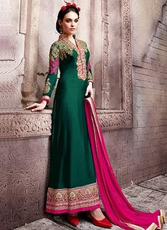 Dark Green Georgette Straight Suit