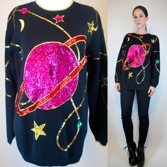 RESERVED -- Neon Sequin Sweater. Vintage 80s Saturn Moon Star Art Deco Black Mini Dress Top Draped  boho wild Extra Small - Medium