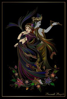 Krishna and Radha by Barnali Bagchi #krishna #krsna #radha #radhe #hindu #art