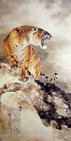 (China) Tiger on tbe rock by Gao Qifeng Asian Tigers, Japanese Tiger, Tiger Painting, Art Chinois, Japanese Artwork, Art Asiatique, Art Japonais, China Art, Japan Art