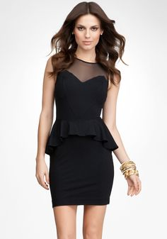 Stella Peplum Dress - Blk - Xs