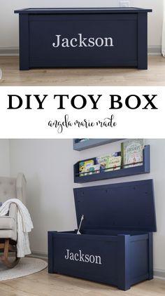 Kids Storage Bins, Toy Bins, Toy Storage, Wooden Toy Chest, Wooden Toy Boxes, Diy Furniture Projects, Baby Furniture, Diy Projects, Dyi Toy Box