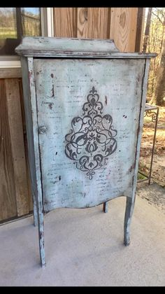 Beautiful little painted cupboard featuring the Valentino Damask Stencil from Artisan Enhancements!