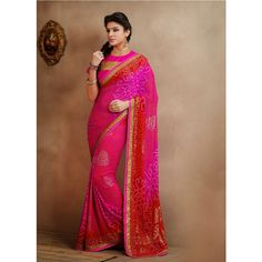 Magenta and Red Brasso #Wedding #Saree With #Blouse