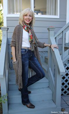 Fashion over 50: Long sweaters #fringe #FashionOver60