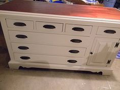 re-purposing a dresser into a kitchen island.
