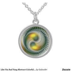 Like Yin And Yang Abstract Colorful Fractal Art Sterling Silver Necklace