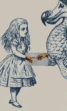 old alice drawings with michael angelo adam touching god