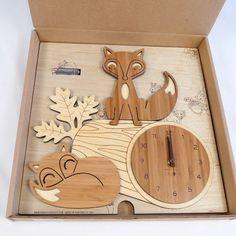 My Sweet Muffin - Fox Log Bamboo Wall Clock