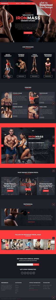 IronMass - Gym Fitness & Bodybuilding WordPress Theme CMS & Blog Templates, WordPress Themes, Sports, Outdoors & Travel, Sport Templates, More Sports, Bodybuilding Templates Are you going to create a sport blog or a website for a gym? This WordPress fitness responsive website template may become a perfect option for both. The color combination of black and red r...
