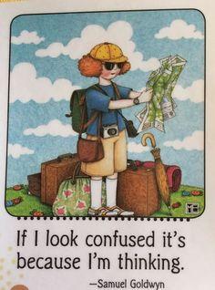 If I Look Confused-Handmade Fridge Magnet-Mary Engelbreit Artwork
