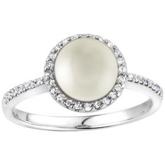 14k Gold Pearl and 1/6ct TDW Diamond Halo Ring Size 6.5 ($400) ❤ liked on Polyvore featuring jewelry, rings, white, white ring, bezel set ring, 14 karat white gold ring, polish jewelry and 14k ring