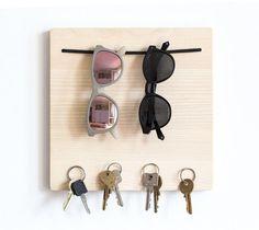sunglasses organizer Sunglasses holder - key holder for wall - entryway organizer - magnetic key holder - magnetic key hook - sunglass rack - housewarming gift Magnetic Key Holder, Wall Key Holder, Diy Key Holder, Key Holders, Diy Crafts Key Holder, Wooden Key Holder, Key Hooks, Key Hook Diy, Wall Hooks