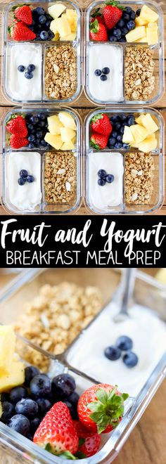 Eat Healthy Breakfast Meal Prep is the best way to get your morning and week off a to a healthy start! Packed with protein, fresh fruit and a sprinkle of low-fat granola, these Fruit and Yogurt Bistro Boxes are a fresh idea for busy mornings. Lunch Meal Prep, Healthy Meal Prep, Healthy Breakfast Recipes, Healthy Drinks, Brunch Recipes, Healthy Snacks, Brunch Food, Fruit Snacks, Healthy Protein