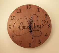 Love you laser cut clock Wood clock Wall by BunBunWoodworking