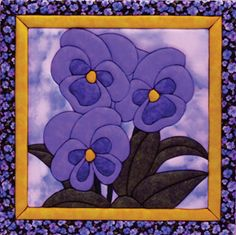 Trio of Pansies Quilt Magic Kit Stencil Patterns, Quilt Block Patterns, Applique Patterns, Applique Quilts, Quilt Blocks, Small Quilts, Mini Quilts, Stained Glass Quilt, Charm Pack Quilts