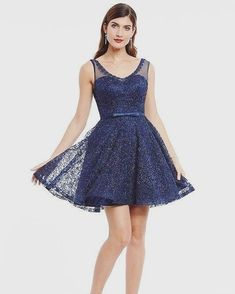 "294781c244d TeresaClare on Instagram  ""Lace Dark Navy Appliques Sleeveless Mini A-Line Homecoming  Dress ➤ USD 77.99 Click the link in the bio to shop this!"