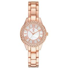 Jennifer Lopez Women's Watch ($86) ❤ liked on Polyvore featuring jewelry, watches, pink, stainless steel jewellery, water resistant watches, roman numeral watches, roman numeral jewelry and stainless steel charms