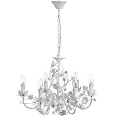 This Stunning Shabby Chic Chandelier will act as a wonderful centre piece in any room. It has six arms and so emits a fabulously bright light.  It is adorned with decorative metal detailing in the form of leaves & roses, which help to reflect the light into differe