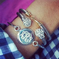 monogramed bracelet with new initials for wedding day. I'm not into monogramming but this is super cute!