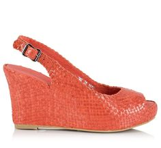 ea9ff48354e9 Couleur Pourpre Orange Intrecciato nappa leather slingback peep-toe wedge  pumps