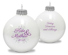 Snowflake Couples Ornament with Your Text Choice