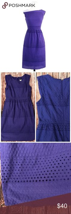 J.Crew Lucille Scalloped Eyelet dress This is such an awesome dress.  Size 6 and in good condition. Some wash wear but still good condition. My pictures make the dress look blue but it is really purple. J. Crew Dresses