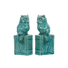 Urban Trends Collection Gloss Turquoise Owl on Book Base Bookends