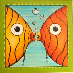 Etsy – Buy handmade, vintage, personalized and unique gifts for everyone-Two lit… Tole Painting, Fabric Painting, Artist Painting, Painting Abstract, Underwater Painting, Cartoon Fish, Colorful Fish, Fish Art, Painting For Kids