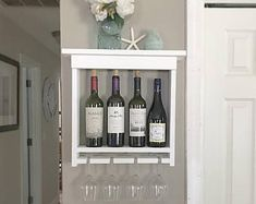 White Wine Rack - Wine Shelf - Housewarming Gift - Gift For Mom - Gift for Wine Lovers - Wine Lover Gift - Wedding Gift - Wine Storage Wine Shelves, Wine Storage, Glass Shelves, White Wine Rack, Wine Rack Wall, Wine Racks, Gifts For Wine Lovers, Glass Holders, House Warming