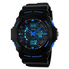 Mens Multi Function Digital LED Quartz Watch Water Resistant Electronic Sport Watches Blue * Read more  at the image link.Note:It is affiliate link to Amazon.