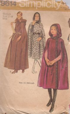 Simplicity 9614 1971. Cape with hood. side wrap and arm slashes.