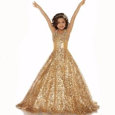 >> Click to Buy << flower girl dresses gold glitz long pageant dresses for kids evening gown first communion dresses custom make free shipping #Affiliate