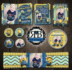 Minions Birthday Party Package designed by RMB Art & Design https://www.facebook.com/RMBArtAndDesign/ #birthdayInvitation #birthdayPackage #birthdayParty #minions #minionsParty #minionsPartyInvitation #cupcaketoppers #invitations #thankyoucard #waterbottlelabel